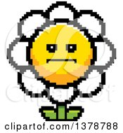 Clipart Of A Serious Daisy Flower Character In 8 Bit Style Royalty Free Vector Illustration