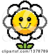 Clipart Of A Happy Daisy Flower Character In 8 Bit Style Royalty Free Vector Illustration
