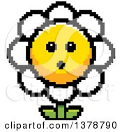 Clipart Of A Surprised Daisy Flower Character In 8 Bit Style Royalty Free Vector Illustration