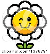 Clipart Of A Winking Daisy Flower Character In 8 Bit Style Royalty Free Vector Illustration