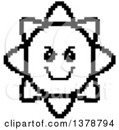 Clipart Of A Black And White Grinning Evil Sun Character In 8 Bit Style Royalty Free Vector Illustration