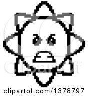 Clipart Of A Black And White Mad Sun Character In 8 Bit Style Royalty Free Vector Illustration
