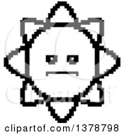 Clipart Of A Black And White Serious Sun Character In 8 Bit Style Royalty Free Vector Illustration