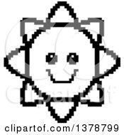 Clipart Of A Black And White Happy Sun Character In 8 Bit Style Royalty Free Vector Illustration