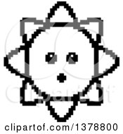 Clipart Of A Black And White Surprised Sun Character In 8 Bit Style Royalty Free Vector Illustration
