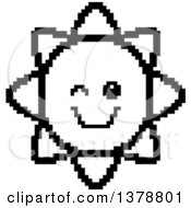 Clipart Of A Black And White Winking Sun Character In 8 Bit Style Royalty Free Vector Illustration