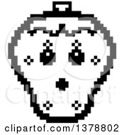 Clipart Of A Black And White Surprised Strawberry Character In 8 Bit Style Royalty Free Vector Illustration