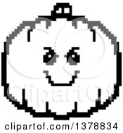 Clipart Of A Black And White Grinning Evil Pumpkin Character In 8 Bit Style Royalty Free Vector Illustration