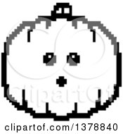 Clipart Of A Black And White Surprised Pumpkin Character In 8 Bit Style Royalty Free Vector Illustration