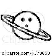 Clipart Of A Black And White Surprised Planet Character In 8 Bit Style Royalty Free Vector Illustration