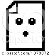 Clipart Of A Black And White Surprised Note Document Character In 8 Bit Style Royalty Free Vector Illustration