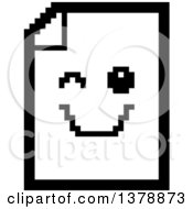 Clipart Of A Black And White Winking Note Document Character In 8 Bit Style Royalty Free Vector Illustration