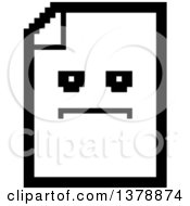 Clipart Of A Black And White Serious Note Document Character In 8 Bit Style Royalty Free Vector Illustration