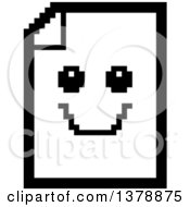 Clipart Of A Black And White Happy Note Document Character In 8 Bit Style Royalty Free Vector Illustration