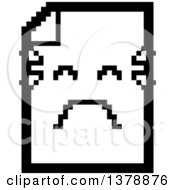 Clipart Of A Black And White Crying Note Document Character In 8 Bit Style Royalty Free Vector Illustration