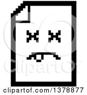 Clipart Of A Black And White Dead Note Document Character In 8 Bit Style Royalty Free Vector Illustration