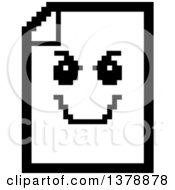 Clipart Of A Black And White Grinning Evil Note Document Character In 8 Bit Style Royalty Free Vector Illustration