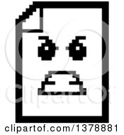 Clipart Of A Black And White Mad Note Document Character In 8 Bit Style Royalty Free Vector Illustration
