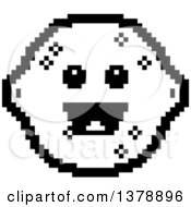 Clipart Of A Black And White Happy Lemon Character In 8 Bit Style Royalty Free Vector Illustration