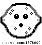 Clipart Of A Black And White Surprised Lemon Character In 8 Bit Style Royalty Free Vector Illustration