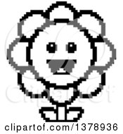 Clipart Of A Black And White Happy Daisy Flower Character In 8 Bit Style Royalty Free Vector Illustration