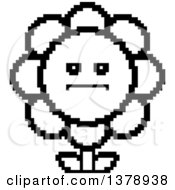 Clipart Of A Black And White Serious Daisy Flower Character In 8 Bit Style Royalty Free Vector Illustration
