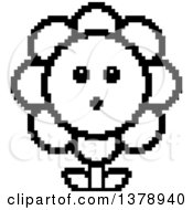 Clipart Of A Black And White Surprised Daisy Flower Character In 8 Bit Style Royalty Free Vector Illustration