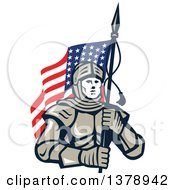 Clipart Of A Knight In Metal Armour Carrying An American Flag Royalty Free Vector Illustration