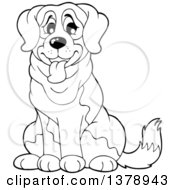 Clipart Of A Black And White St Bernard Dog Royalty Free Vector Illustration
