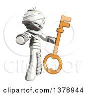 Clipart Of A Fully Bandaged Injury Victim Or Mummy Holding A Key Royalty Free Illustration