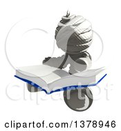Clipart Of A Fully Bandaged Injury Victim Or Mummy Reading A Book Royalty Free Illustration