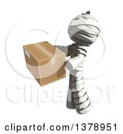 Clipart Of A Fully Bandaged Injury Victim Or Mummy Holding A Box Royalty Free Illustration