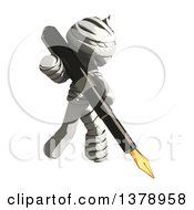 Clipart Of A Fully Bandaged Injury Victim Or Mummy Holding A Fountain Pen Royalty Free Illustration