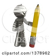Clipart Of A Fully Bandaged Injury Victim Or Mummy Holding A Pencil Royalty Free Illustration