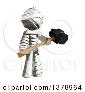 Clipart Of A Fully Bandaged Injury Victim Or Mummy Holding A Sledgehammer Royalty Free Illustration