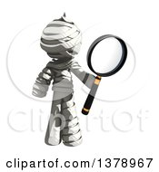 Clipart Of A Fully Bandaged Injury Victim Or Mummy Searching With A Magnifying Glass Royalty Free Illustration