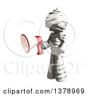Fully Bandaged Injury Victim Or Mummy Holding A Megaphone