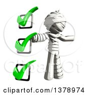 Clipart Of A Fully Bandaged Injury Victim Or Mummy With A To Do List Royalty Free Illustration