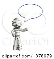 Clipart Of A Fully Bandaged Injury Victim Or Mummy Talking Royalty Free Illustration
