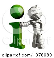Clipart Of A Fully Bandaged Injury Victim Or Mummy With An I Information Icon Royalty Free Illustration