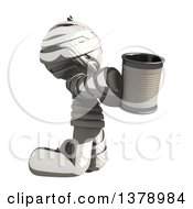 Clipart Of A Fully Bandaged Injury Victim Or Mummy Begging With A Can Royalty Free Illustration