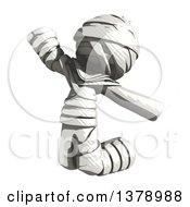 Clipart Of A Fully Bandaged Injury Victim Or Mummy Jumping Royalty Free Illustration
