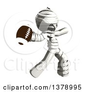 Clipart Of A Fully Bandaged Injury Victim Or Mummy Throwing A Football Royalty Free Illustration