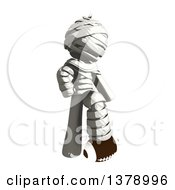 Clipart Of A Fully Bandaged Injury Victim Or Mummy Resting A Foot On A Football Royalty Free Illustration
