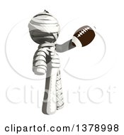 Clipart Of A Fully Bandaged Injury Victim Or Mummy Holding A Football Royalty Free Illustration
