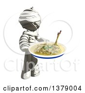 Clipart Of A Fully Bandaged Injury Victim Or Mummy With A Bowl Of Noodles Royalty Free Illustration by Leo Blanchette