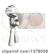 Clipart Of A Fully Bandaged Injury Victim Or Mummy Holding An Envelope Royalty Free Illustration by Leo Blanchette