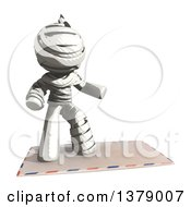 Clipart Of A Fully Bandaged Injury Victim Or Mummy Surfing On An Envelope Royalty Free Illustration by Leo Blanchette