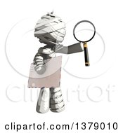 Clipart Of A Fully Bandaged Injury Victim Or Mummy Holding An Envelope And Magnifying Glass Royalty Free Illustration by Leo Blanchette