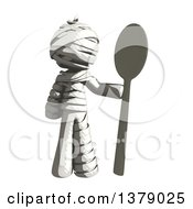 Clipart Of A Fully Bandaged Injury Victim Or Mummy With A Spoon Royalty Free Illustration by Leo Blanchette